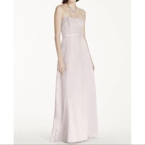 David's Bridal Long Strapless Lace Satin Gown